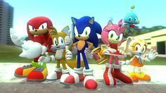 """Knuckles the Echidna, Miles """"Tails"""" Prower, Sonic the Hedgehog, Amy Rose, Cream the Rabbit and Cheese the Chao"""