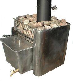 My Lämpimämpi stove with Adirondack rocks Sauna Heater, Stove Heater, Sauna Steam Room, Sauna Room, Sauna Wood Stove, Mobile Sauna, Building A Sauna, Sauna House, Oven Diy