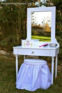 diy vanity for little girl. DIY Girls Play Vanity with Mirror  Pottery Barn Kids inspired Little girl s vanity mirror from kidcraft But I think this could