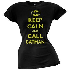 """I never get tired of these parodies. Here's another great one brought to on a 100% cotton juniors t-shirt. the text reads, """"Keep calm and call Batman"""" in slightly distressed print. This might be my favorite one yet."""