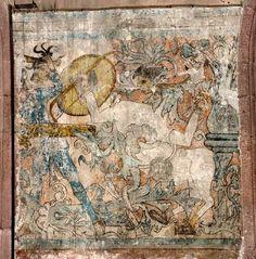 Grutesco de los glifos y los centauros (anónimo, siglo XVI). Convento de Ixmiquilpan, Hidalgo, Virreinato de Nueva España