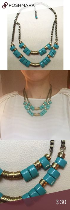 """Anthropologie Gold and Turquoise Necklace 18"""" Anthropologie Gold and Turquoise Necklace // Double layered // Adjustable length // 18"""" at max length // Tiny chip on one of the turquoise stones but not noticable at all because it's on the top corner next to gold-colored circles (pictured) // I ship same-day from pet/smoke-free home // 15% off on bundles // Buy with confidence. I am a top seller with close to 300 5-star ratings and A LOT of love notes! Check them out. 😊😎 Anthropologie Jewelry…"""