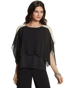 Layering is effortless with this colorblocked, two-in-one top. An attached tank top gives you modest coverage. Elegante Jumpsuits, Layered Tops, Plus Size Fashion, Layers, Ruffle Blouse, Tank Tops, My Style, Products, Girls