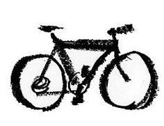Bicicleta dibujada con línea de cera negra.
