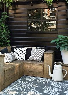 "I like the idea of building a side ""wall"" on the lower yard patio for privacy with little window to not totally obstruct views/setting sun ... and could have backside of wall serve as a trellis for climbing vines :)"