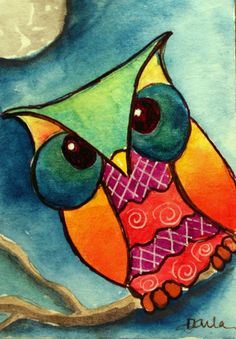 SALE Everything will be Owlright ORIGINAL watercolor ACEO 2.5 x 3.5 painting.  via Etsy.