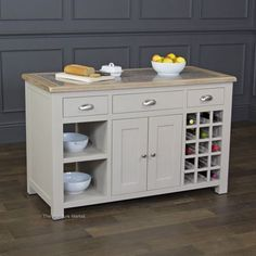 Grey Stone Painted Kitchen Island with Oak and Granite Top - storage unit GS33