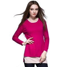 Women Autumn Winter Fluffy Cashmere Sweater Round Collar Fake Two Pieces Hem Pullovers Pulls Knitwear Tops Slim Jersey