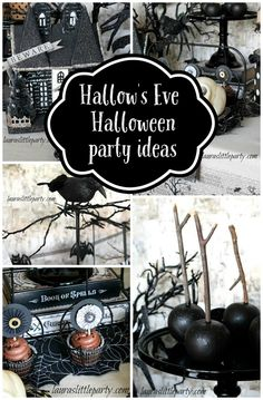 Plan a spooky Halloween celebration like this Hallow's Eve Inspired Party on prettymyparty.com.