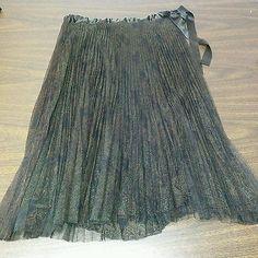 Express NEW Brown Fan Pleating Satin Waist Below Knee Skirt Ladies 10