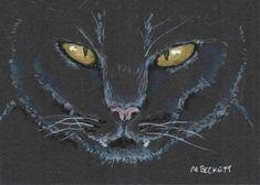 ACEO Halloween31 Original Painting Black Cat Halloween spooky pets animals #Impressionism Gothic Halloween, Halloween Cat, Ghost Cat, Halloween Painting, Spooky Scary, Impressionism, Cats And Kittens, Watercolor Art, Folk Art