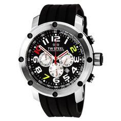 TW Steel Grandeur Tech 50mm Black Rubber Chronograph Quartz Men's Watch TW608