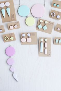 An assortment of Geometric Pastel Jewelry  by Pure