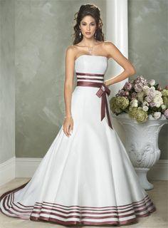 Brautkleider mit Schleppe Landhaus Zweifarbig schlicht elegant