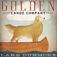 CUSTOMIZE Golden Dog Canoe Company Golden Retriever Canoe Ride Graphic Art Giclee Print 12x12 Signed. $39.00, via Etsy.