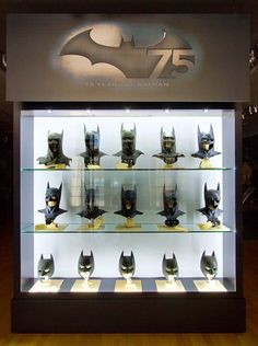 Movie Batman cowls exhibit from Warner Brother's Batman 75th Anniversary tour.