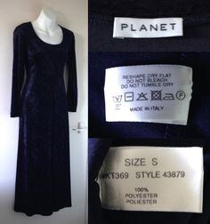 1990's PLANET Navy Blue Crushed Velvet Long Pagan Wicca Witch Larp Medieval Dress Size 10 12