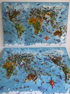 Sara Drake - 3D Illustrated world map. Two different views of the world. Not surprisingly - the Pacific-centric one proved most popular in the gallery.  Mixed media - balsa wood, card, paper, beads and wire. All the details are hand made.