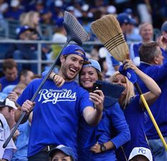 Looking for a sweep as fans get together for a quick selfie before the start of the game against the Kansas City Royals and the Los Angeles Angels at Sunday's ALDS playoff baseball game on October 5, 2014 at Kauffman Stadium in Kansas City, MO.