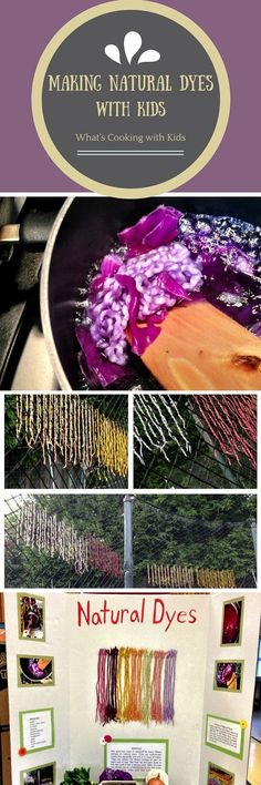 Dying string with natural food colorings for 4H Presentation Day. Uses kitchen skills to teach about textiles.