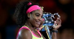 NUMBER NINETEEN: Serena Williams hugs the Daphne Akhurst Memorial Cup after winning her sixth Australian Open title and 19th grand slam overall.