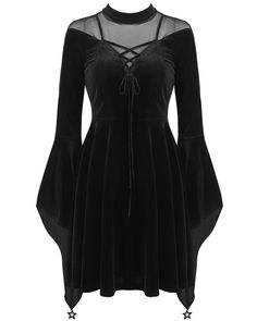 Dark In Love Prudence Velvet Mini Dress - Gothic Skater Dress With Mesh Contrast, Adjustable Lacing And Flared Witch Cuffs With Star Charms All Black Dresses, Cute Dresses, Cute Outfits, Gothic Dress, Lolita Dress, Gothic Gowns, Steampunk Wedding Dress, Skirt Fashion, Fashion Outfits