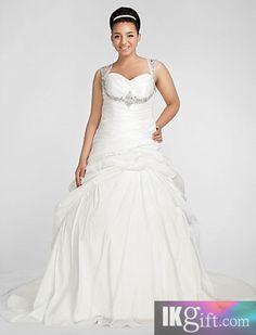 Glamorous Ball Gown Sweetheart Chapel Train Taffeta Plus Size Wedding Dress  SKU  WPS0021-LT 54fad097cb1b
