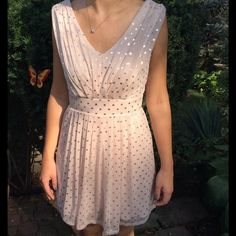 Skater Dress  MAKE ME AN OFFER Super cute taupe dress with silver sparkle dots and dramatic open back. Never worn! As U Wish  Dresses