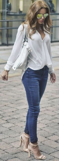 White And Denim Casual Chic Style by Nada Adellè