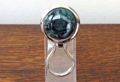 Chrome Magnetic Eyeglass Holder Dark Green by DARLAsTurningTrades