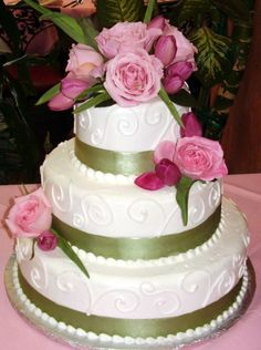 shimmery wedding cakes | Wedding Cake Gallery: Some of our desings for wedding cakes in tucson. would like with quilting on middle tier and yellow satin ribbons and coral flowers