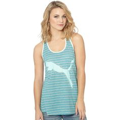 Puma Striped Cat Swing Tank Top ($15) ❤ liked on Polyvore featuring tops, racer back tank top, summer tanks, puma tank, striped tank top i racerback tank tops