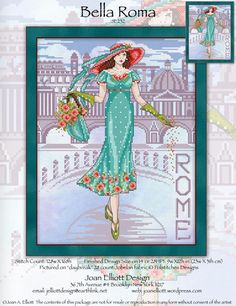 Joan Elliott Bella Roma - Cross Stitch Pattern. Model stitched on 28 Ct. Daybreak Jobelan by Polstitches (or fabric of your choice) with DMC floss and Mill Hill