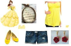 Belle Outfit - Beauty and the Beast by Stacy. P  (the necklace is a book page necklace in French)
