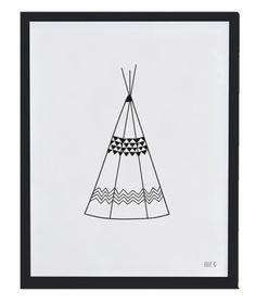 Affiche encadrée noir et blanc teepee