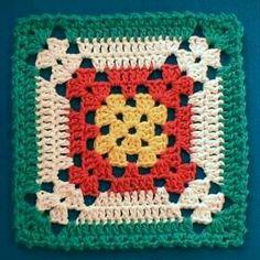 Crochet Granny Square Patterns Nina's At My House: Free Crochet Pattern Motifs Granny Square, Crochet Motifs, Crochet Blocks, Granny Square Crochet Pattern, Crochet Squares, Crochet Stitches, Free Crochet, Granny Squares, Plaid Crochet