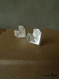 Origami Heart Silver Earrings / Paper-folded Heart Sterling Silver Stud Earrings Paper Jewelry, Jewelry Box, Sterling Silver Earrings Studs, Stud Earrings, Origami Heart, Covered Boxes, Black Velvet, Cufflinks, Mini