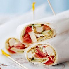 Chicken & Hummus Wraps-Hummus and yogurt are healthy alternatives to mayo in this easy chicken wrap