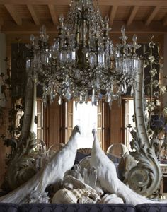 Wow - opulence at it's best. White peacocks, chandelier, mirror, layered with style. White Peacock, Boho Home, Chandelier Lighting, Crystal Chandeliers, Country Chandelier, Chandelier Ideas, Silver Chandelier, Light Up, Beautiful Homes