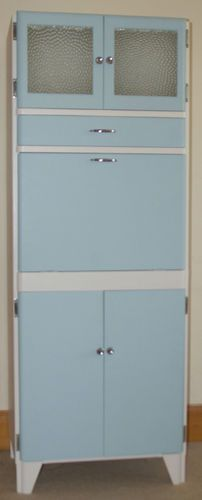 Lovely Vintage Kitchen Larder Cupboard - Shabby Chic, Retro, Country   eBay. Redoing all kitchen cabinets, this way but with a country green instead of blue.
