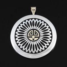 Watson Honanie (Hopi) > Silver & Gold Sun Pendant