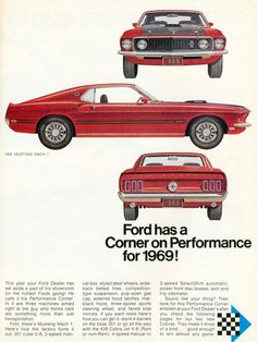 1968 Ad Vintage 1969 Ford Mustang Mach I Red Pony Muscle Car Automobile Ford Motor Company, Mustang Mach 1, Mustang Cars, Ford Mustangs, Mustang Fastback, Mustang 1966, Shelby Mustang, Ford 2000, Bicicletas Raleigh