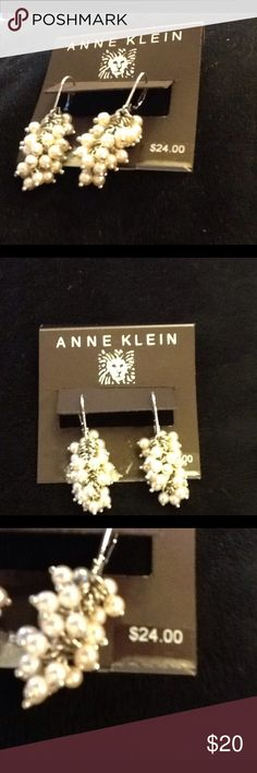 Anne Klein dangling mini pearl pierced earrings Brand new! Pierced with wire hoops. Lots of little pearls in a cluster. Anne Klein Jewelry Earrings