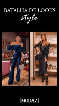 Look Balada.  Macacão de veludo ombro a ombro x Slip Dress #modaazoficial #batalhadelooks #dicademoda Looks Style, Photo And Video, Videos, Instagram, Battle, Shoulder, Women, Hipster Stuff
