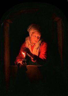 Gerard Dou: Een oude vrouw met een kaars in een venster. 1661. Wallraf-Richartz-Museum, Keulen. Een type dat domineert in de Leidse schilderkunst van de jaren veertig van de 17e eeuw: portret van een allegorische figuur in een boogvenster. De oude vrouw beschermt de vlam van een kaars met haar hand. Symbolisch voor de vergankelijkheid van het menselijk leven