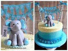 Blue ombre butter cream ridged cake with sugar paste elephant topper and bunting - perfect for little boy's birthdays!