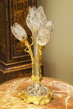Art Nouveau Crystal and Bronze Flora Form Table Lamp | From a unique collection of antique and modern table lamps at https://www.1stdibs.com/furniture/lighting/table-lamps/ Art Nouveau Crystal and Bronze Flora Form Table Lamp  Offered By Stephen's Antiques, Inc.  $15,000