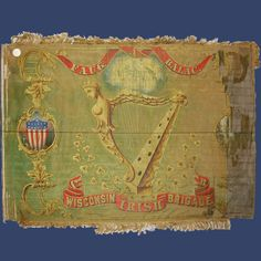 """Wisconsin Infantry flag In 1862 at the Siege of Corinth, MS.the regiment conducted a bayonet charge on the Confederate position shouting the Gaelic war cry """"Faugh A Ballagh"""" Irish American, American Civil War, American History, Shermans March, Flags Of Our Fathers, Ireland Culture, Civil War Flags, Union Army, Flag Colors"""