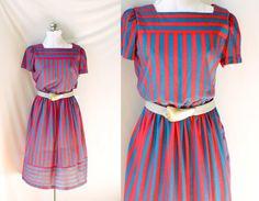 Vintage 1980's Dress and Belt  Red Stripe by PomegranateVintage, $45.00