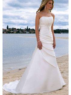 Unique A-Line/Princess Sleeveless Sweetheart Satin Chapel Train Wedding Dress